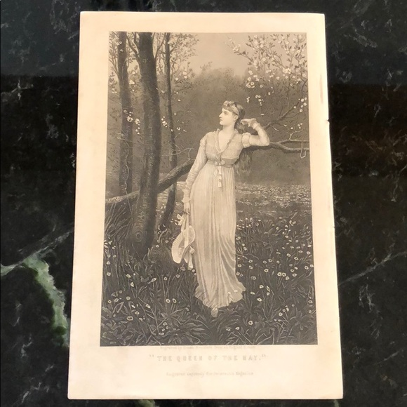 "Vintage Other - The Queen of the May 9.25"" x 6""-Antique Engraving"